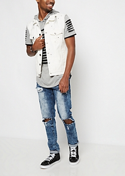 White Destroyed & Paint Splattered Jean Vest