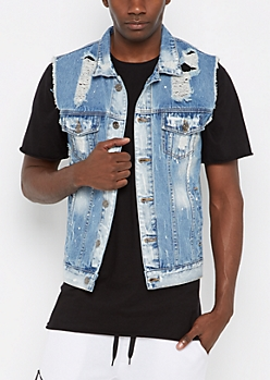Paint Splattered Destroyed Jean Vest