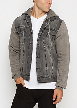 Black Wash Hooded Jean Jacket