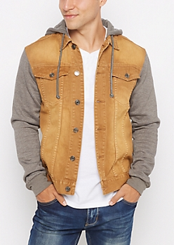 Cognac Wash Hooded Jean Jacket