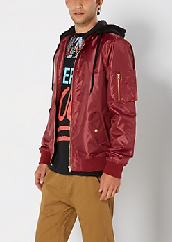 Burgundy Hooded Bomber Jacket