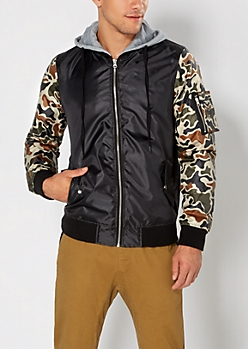 Camo Hooded Bomber Jacket