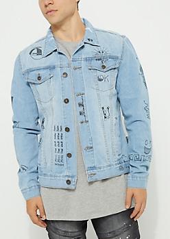 Light Blue Distressed Scribble Denim Jacket