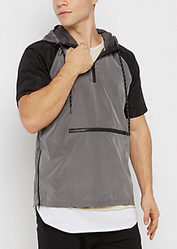 Gray Hooded Short Sleeve Windbreaker