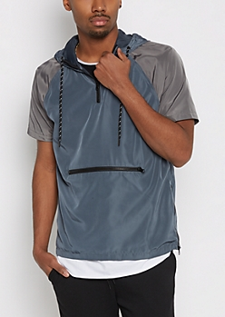 Blue Hooded Short Sleeve Windbreaker
