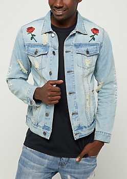 Savage Embroidered Distressed Jean Jacket