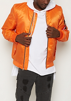 Orange Quilted Bomber Jacket