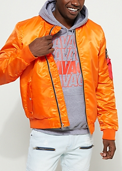 Orange Nylon Flight Bomber Jacket