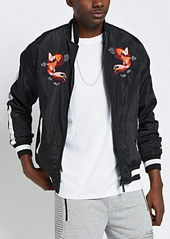Black Koi Fish Bomber Jacket