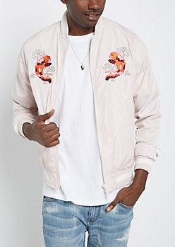 Pink Koi Fish Bomber Jacket