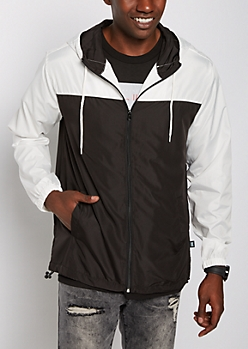Black & White Hooded Windbreaker