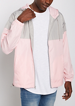 Pink & Gray Hooded Windbreaker