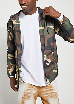 Camo Zip Down Windbreaker