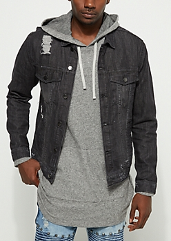 Black Destroyed Trucker Jean Jacket