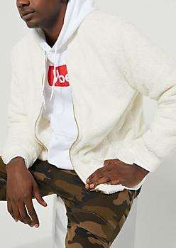 White Faux Fur Bomber Jacket