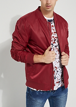 Burgundy Nylon Bomber Jacket