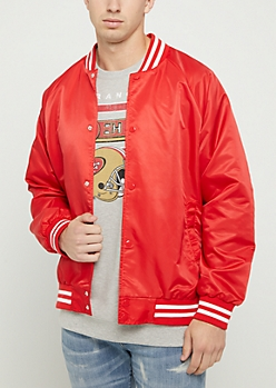 Red Nylon Bomber Jacket