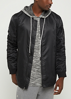 Black Rounded Bomber Jacket