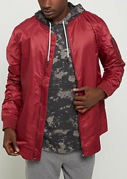 Burgundy Rounded Bomber Jacket