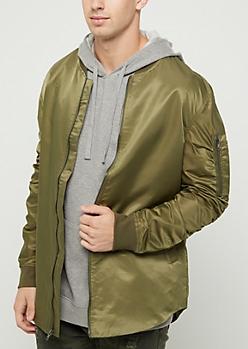 Olive Rounded Bomber Jacket