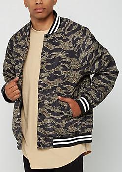 Tiger Camo Varsity Bomber Jacket
