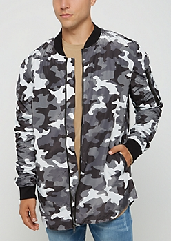Black Camo Rounded Bomber Jacket