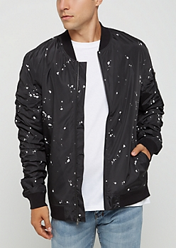 Black Paint Splattered Bomber Jacket