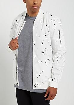 White Paint Splattered Bomber Jacket