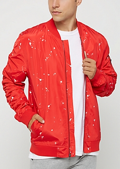 Red Paint Splattered Bomber Jacket