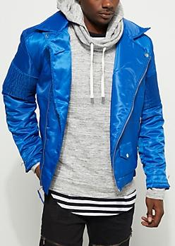 Royal Blue Moto Puffer Jacket