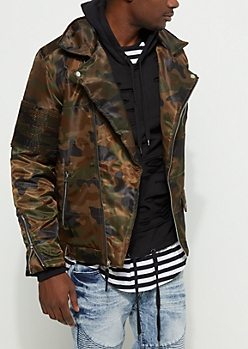 Camo Moto Puffer Jacket
