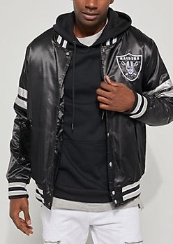 Oakland Raiders Embroidered Logo Bomber Jacket