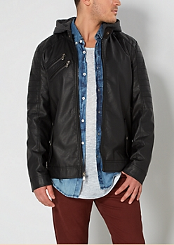 Black Hooded Moto Jacket
