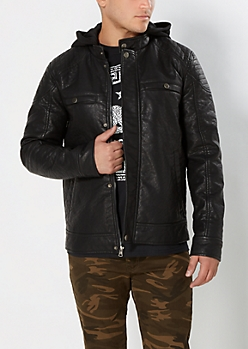 Washed Faux Leather Hooded Jacket