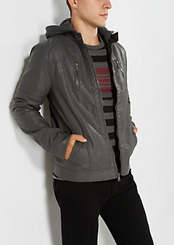 Gray Perforated Hooded Jacket