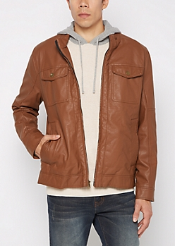 Cognac Perforated & Stitched Moto Jacket