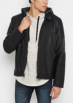 Faux Leather Sherpa Hooded Moto Jacket