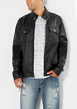 Ribbed Elbow Moto Jacket