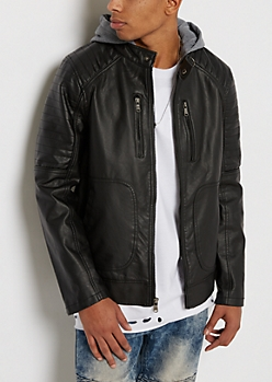 Black Hooded Faux Leather Moto Jacket