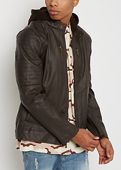 Brown Hooded Faux Leather Moto Jacket