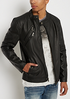 Double Zipped Faux Leather Moto Jacket