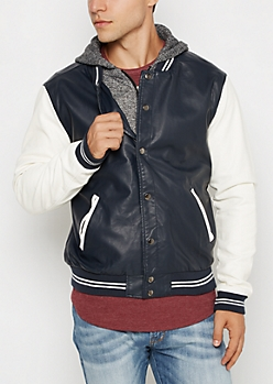 Faux Leather Layered Bomber Jacket