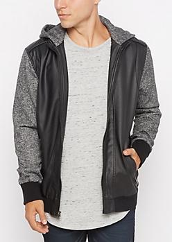 Marled Sleeve Mock Leather Bomber