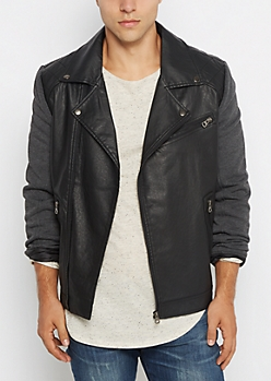 Jersey Sleeve Quilted Yoke Moto Jacket