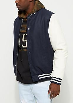 Wool Color Block Varsity Jacket