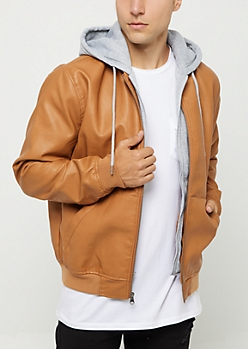 Layered Faux Leather Hooded Jacket