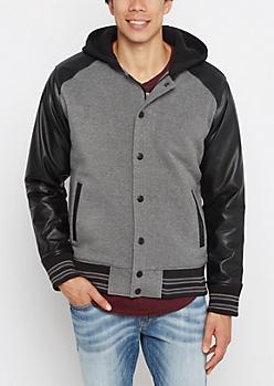 Black Vegan Leather Sleeve Bomber