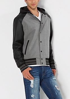 Faux Leather Hooded Varsity Jacket