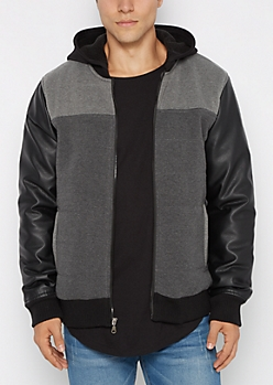 Quilted Faux Leather Hooded Jacket