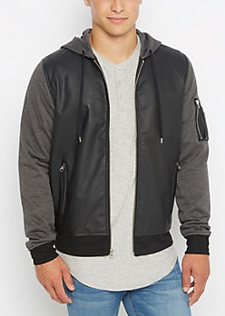 Utility Sleeve Mock Leather Bomber